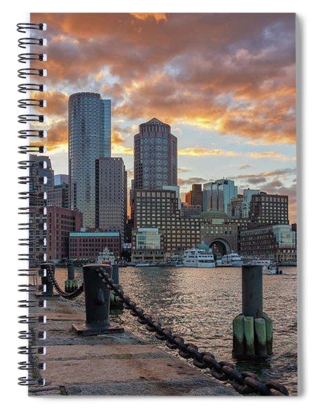 Summer Sunset At Boston's Fan Pier Spiral Notebook