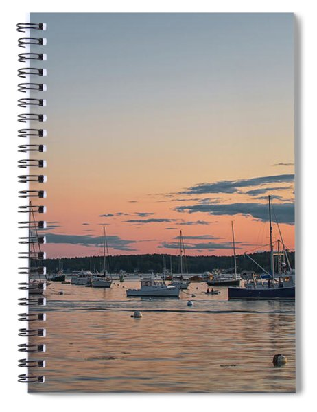 Summer Sunset In Boothbay Harbor Spiral Notebook