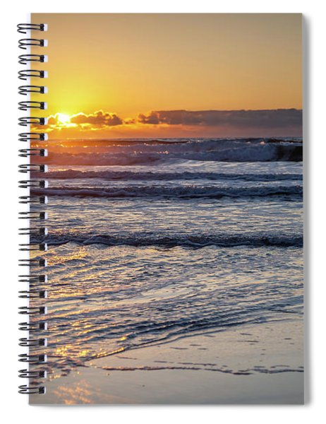 Sun Behind Clouds With Beach And Waves In The Foreground Spiral Notebook