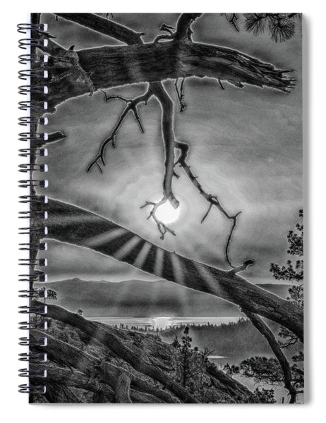 Sun Ornament - Black And White Spiral Notebook