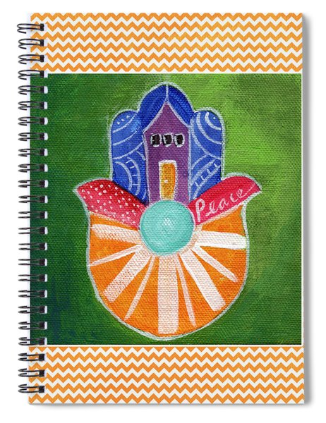 Sunburst Hamsa With Chevron Border Spiral Notebook