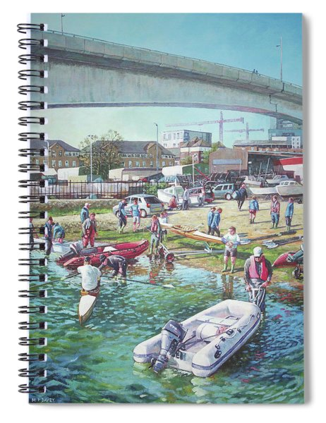 Sunday Morning Rowing At Itchen Bridge, Southampton  Spiral Notebook