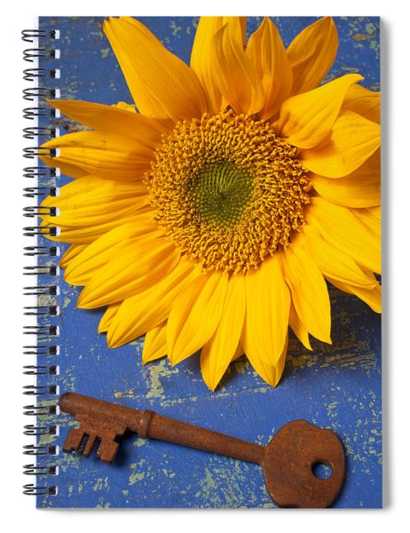 Sunflower And Skeleton Key Spiral Notebook
