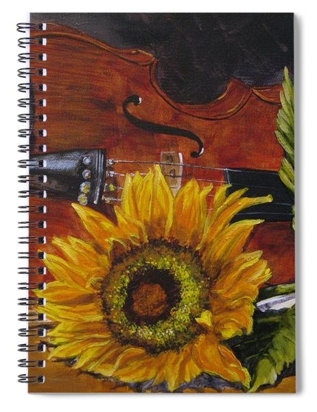 Sunflower And Violin Spiral Notebook
