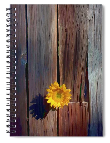 Sunflower In Barn Wood Spiral Notebook