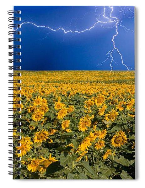 Sunflower Lightning Field  Spiral Notebook