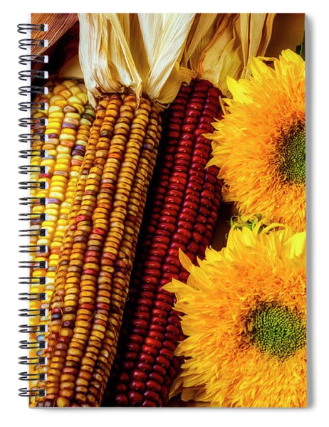 Sunflowers And Indian Corn Spiral Notebook