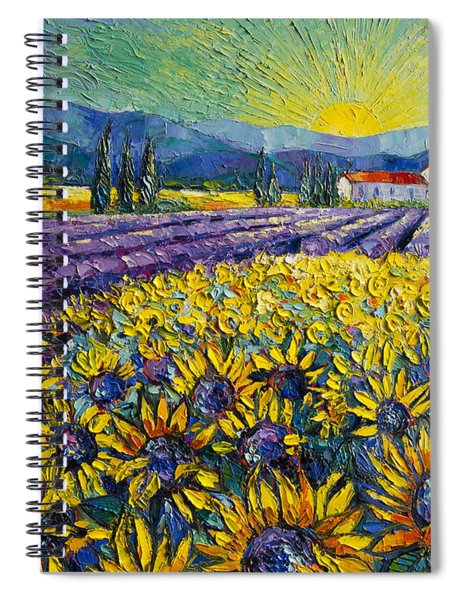 Sunflowers And Lavender Field - The Colors Of Provence Modern Impressionist Palette Knife Painting Spiral Notebook