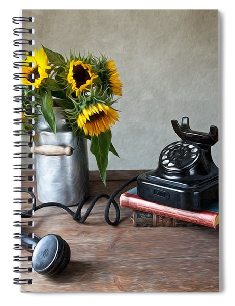 Sunflowers And Phone Spiral Notebook