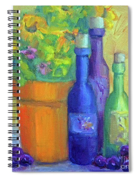 Sunflowers And Wine Spiral Notebook