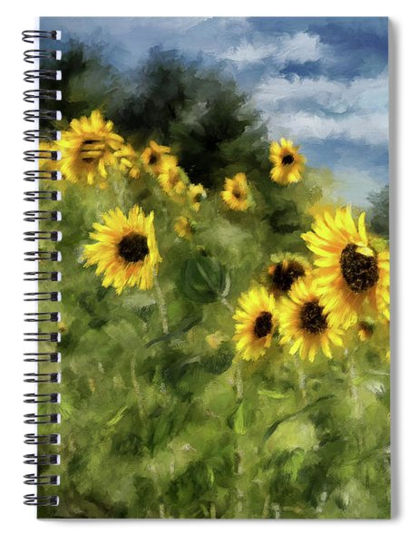 Sunflowers Bowing And Waving Spiral Notebook