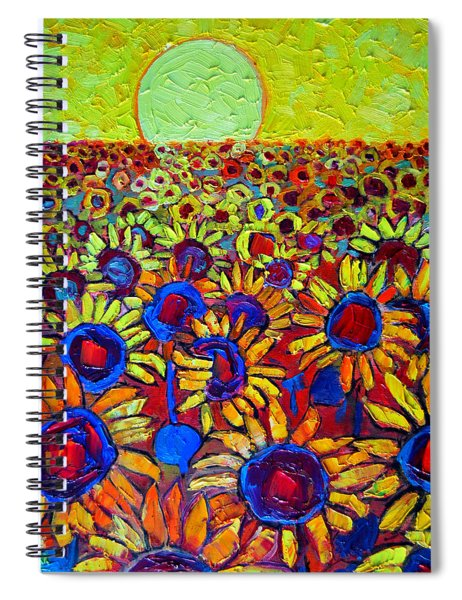 Sunflowers Field At Sunrise Spiral Notebook