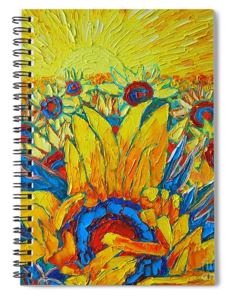 Sunflowers Field In Sunrise Light Spiral Notebook