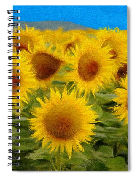 Sunflowers In The Field Spiral Notebook