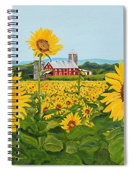 Spiral Notebook featuring the painting Sunflowers On Route 45 - Pennsylvania- Autumn Glow by Jan Dappen