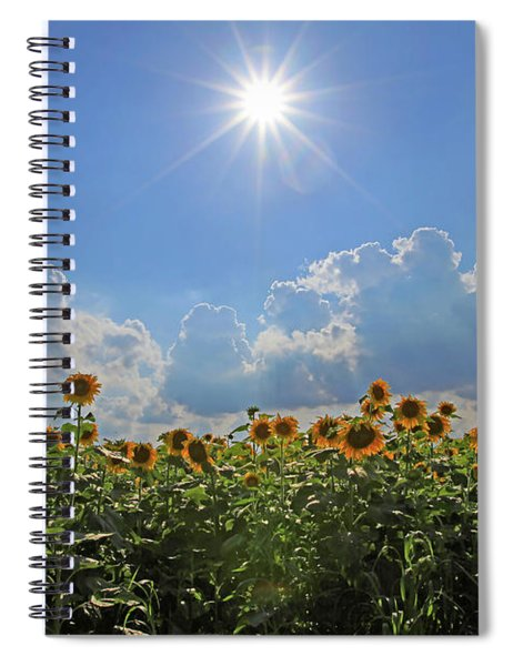 Sunflowers With Sun And Clouds 1 Spiral Notebook