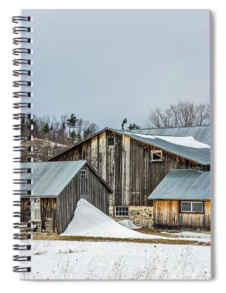 Sunlit Barns And Silos In Winter Spiral Notebook