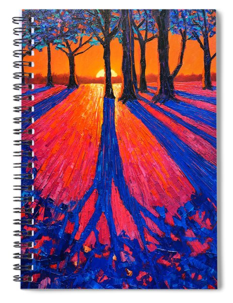 Sunrise In Glory - Long Shadows Of Trees At Dawn Spiral Notebook