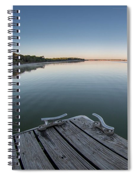 Sunrise On A Clear Morning Over Large Lake With Fog On Top, From Spiral Notebook