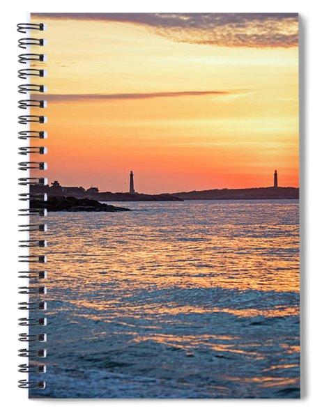 Sunrise Over Thacher Island From Long Beach In Gloucester Ma Golden Sunrise Spiral Notebook