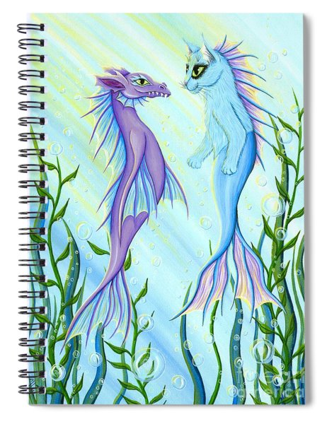 Sunrise Swim - Sea Dragon Mermaid Cat Spiral Notebook