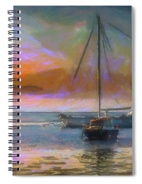 Sunrise With Boats Spiral Notebook