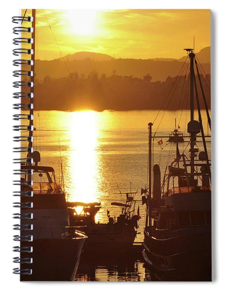 Sunset And The Boats Spiral Notebook