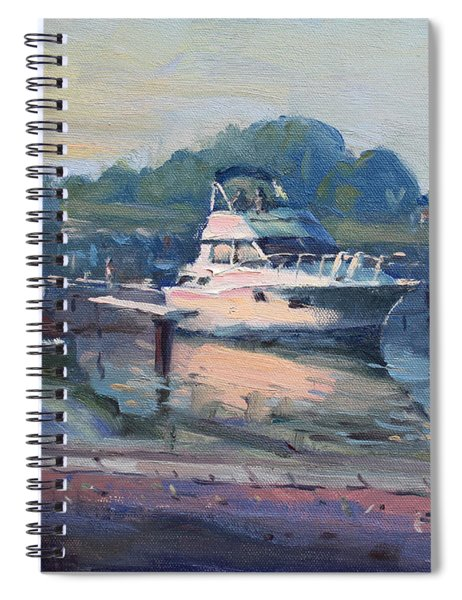 Sunset At Kellys And Jassons Boat Spiral Notebook