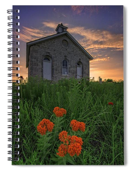 Sunset At Lower Fox Creek Schoolhouse Spiral Notebook