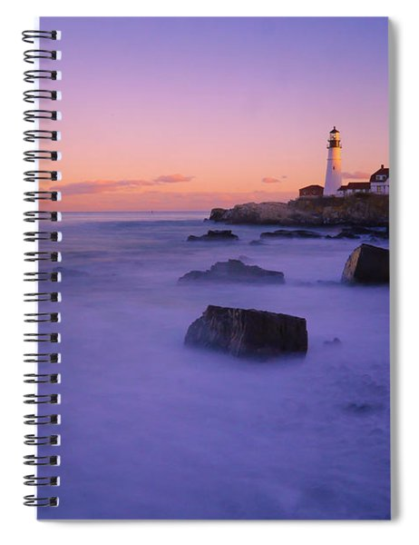 Sunset At Portland Head Light Spiral Notebook