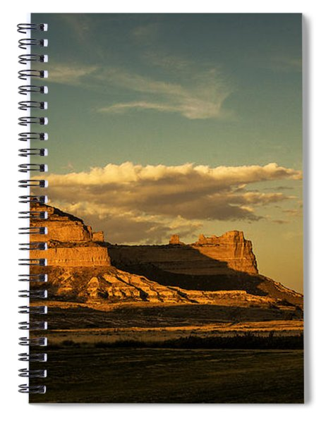 Spiral Notebook featuring the photograph Sunset At Scotts Bluff National Monument by Edward Peterson