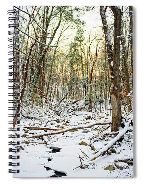 Sunset At The Frozen Creek Spiral Notebook