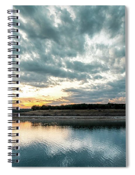 Sunset Behind Small Hill With Storm Clouds In The Sky Spiral Notebook