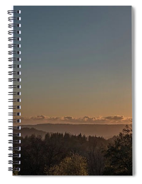 Sunset Behind Tree With Forest And Mountains In The Background Spiral Notebook