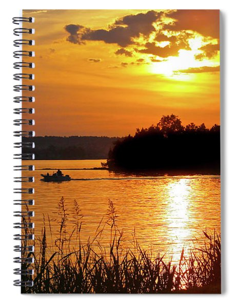 Sunset Boater, Smith Mountain Lake Spiral Notebook