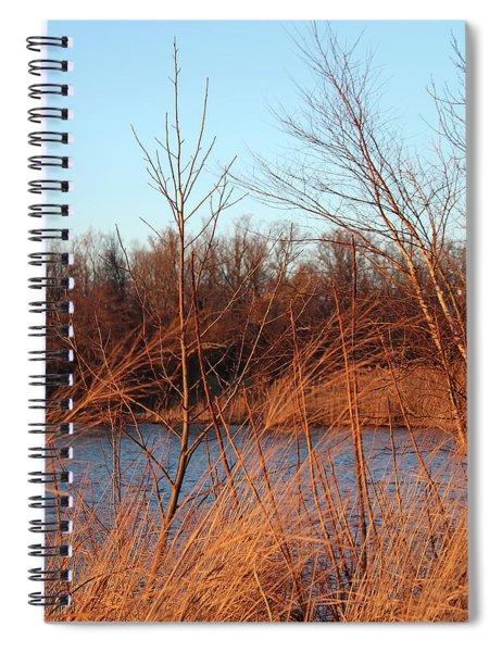Sunset Field Over Water Spiral Notebook