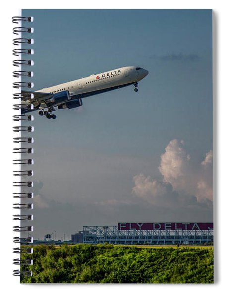 Sunset Glow Delta Airlines Jet N839mh Hartsfield Jackson International Airport Art Spiral Notebook