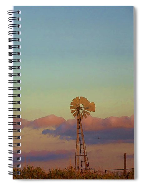 Sunset Moonrise With Windmill  Spiral Notebook