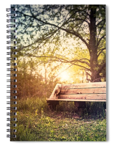 Sunset On A Wooden Bench Spiral Notebook