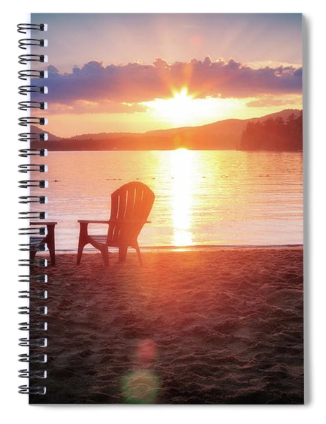 Sunset On Fourth Lake Spiral Notebook