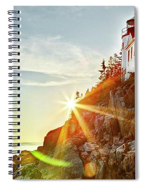 Ocean Sunset On Maine's Bass Harbor Lighthouse Spiral Notebook