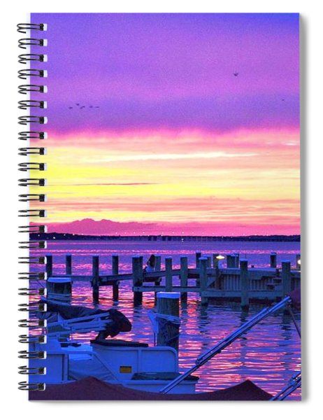 Sunset On The Docks Spiral Notebook