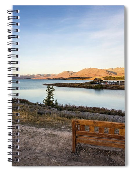 Sunset Over A Bench Overlooking The Stunning Lake Tekapo In New  Spiral Notebook