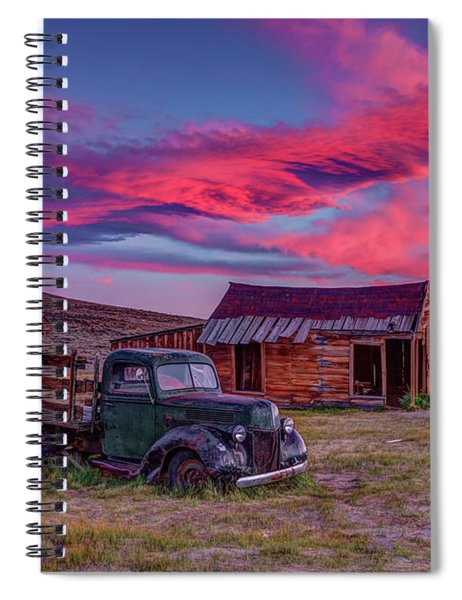 Sunset Over Bodie's Green Truck Spiral Notebook