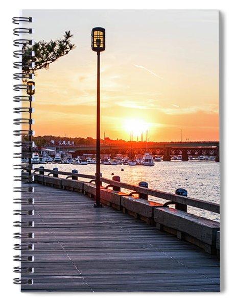 Sunset Over Newburyport Ma Merrimack River Newburyport Turnpike Spiral Notebook