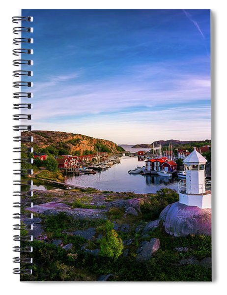 Sunset Over Old Fishing Port - Aerial Photography Spiral Notebook