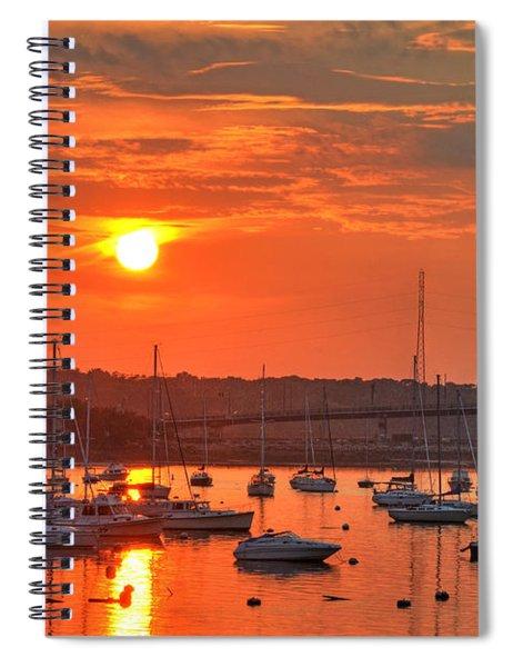 Sunset Over Salem Harbor Salem Beverly Bridge 2 Spiral Notebook