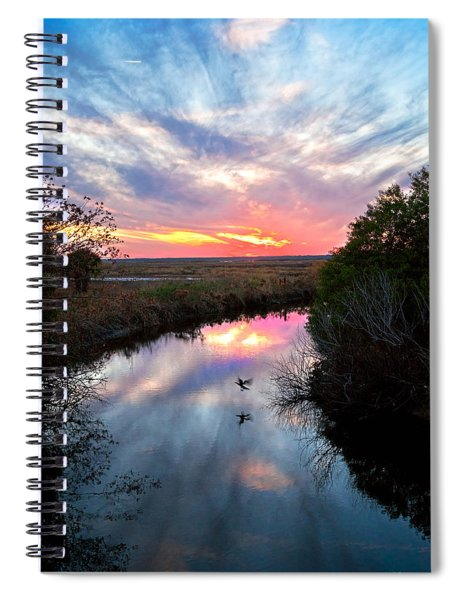 Sunset Over The Marsh Spiral Notebook
