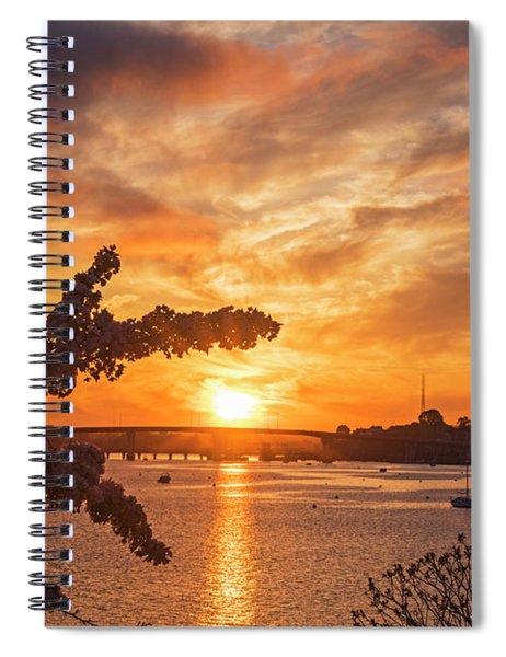 Sunset Over The Salem Beverly Bridge From The Salem Willows Salem Ma Spiral Notebook