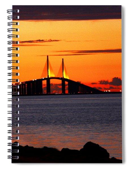 Sunset Over The Skyway Bridge Spiral Notebook